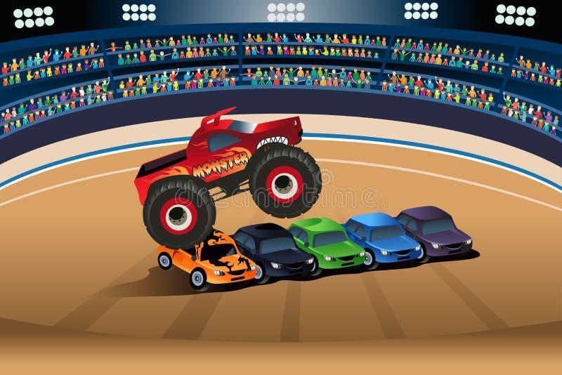 Monster truck jumping on cars stock illustration
