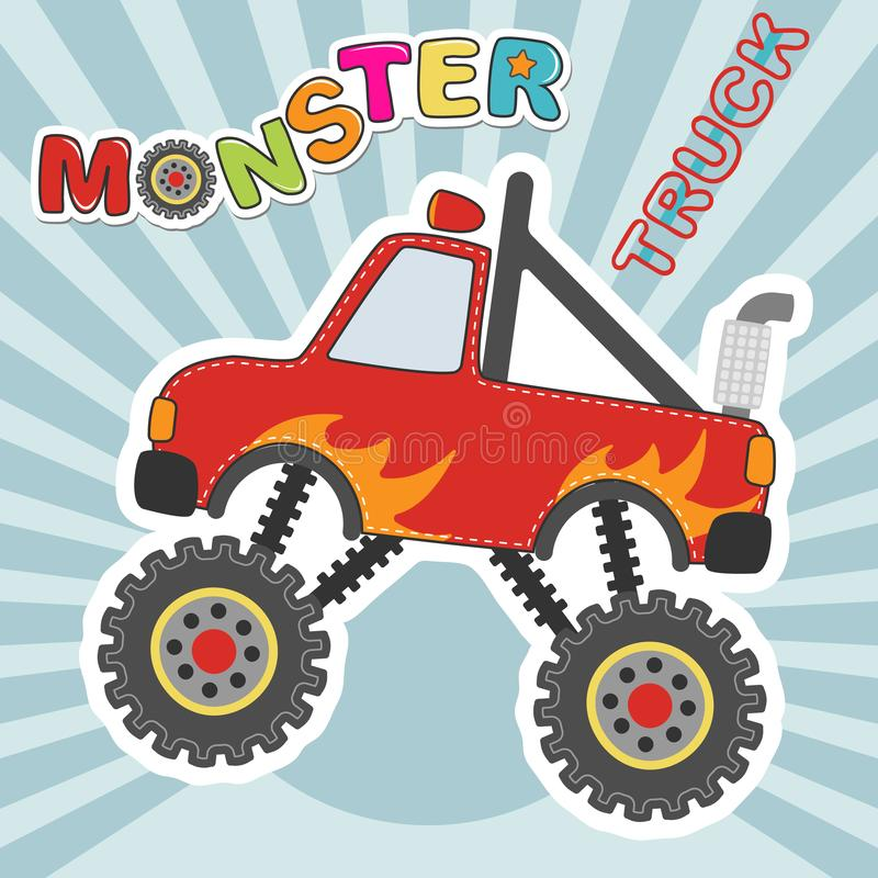 Monster truck red car cartoon character. Vector illustration. stock photos