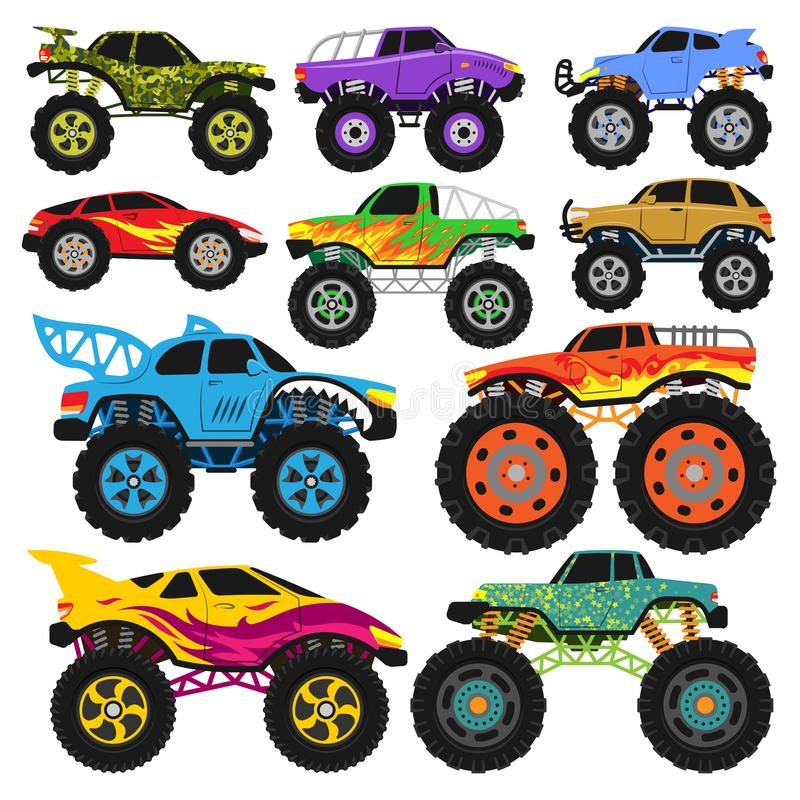 Monster truck vector cartoon vehicle or car and extreme transport illustration set of heavy monstertruck with large royalty free illustration