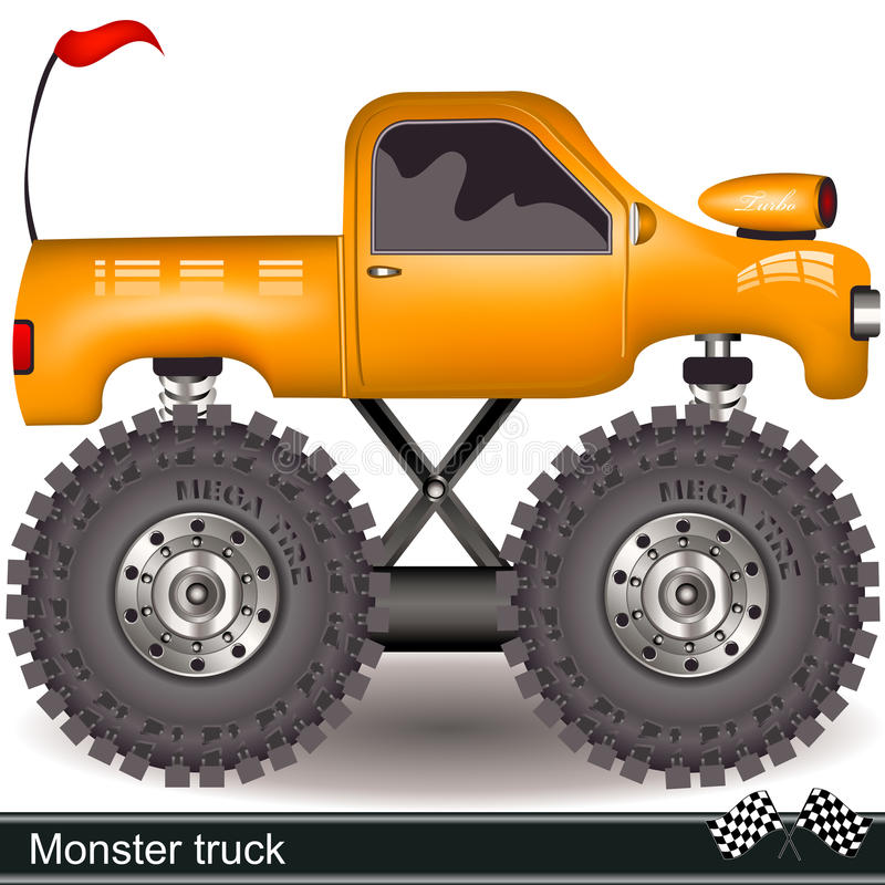 Monster truck. Vector illustration of a yellow cartoon monster truck stock illustration