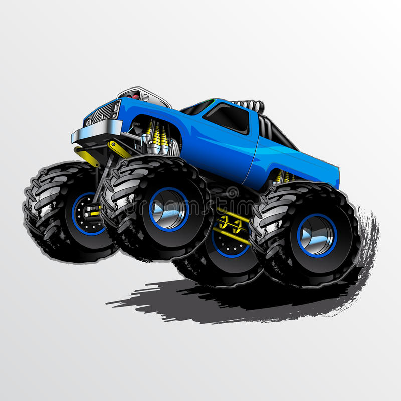 Monster-Truck-Wheelie-Blue vector illustration