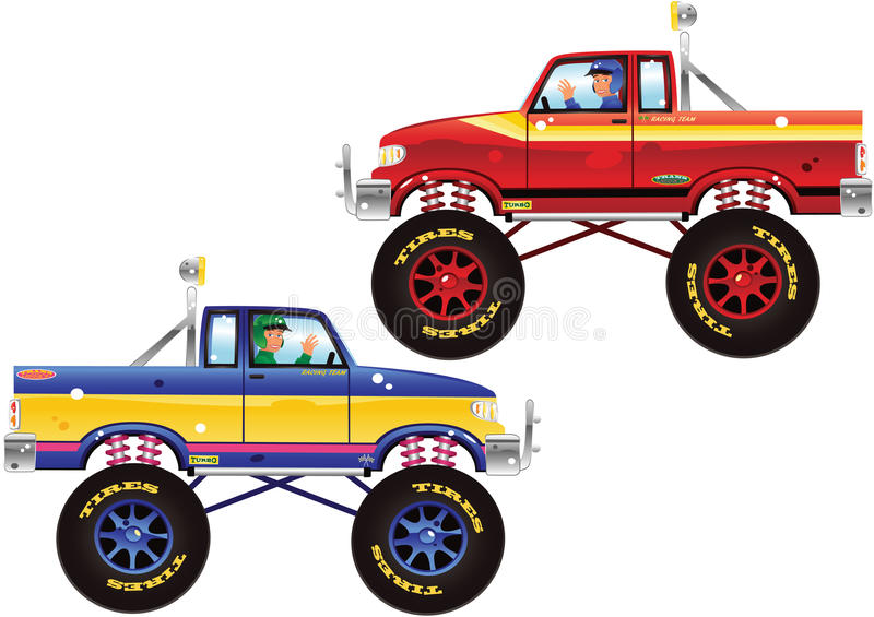 Monster trucks and driver stock illustration