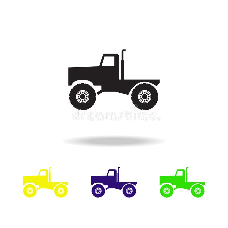 Monster trucks multicolored icons. Monster trucks element icon. Baby Signs, outline symbols collection icon for websites, web desi. Gn, mobile app on white stock illustration
