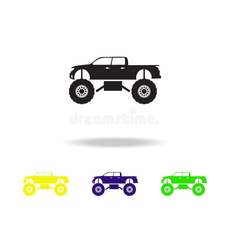 Monster trucks multicolored icons. Monster trucks element icon. Baby Signs, outline symbols collection icon for websites, web desi. Gn, mobile app on white royalty free illustration