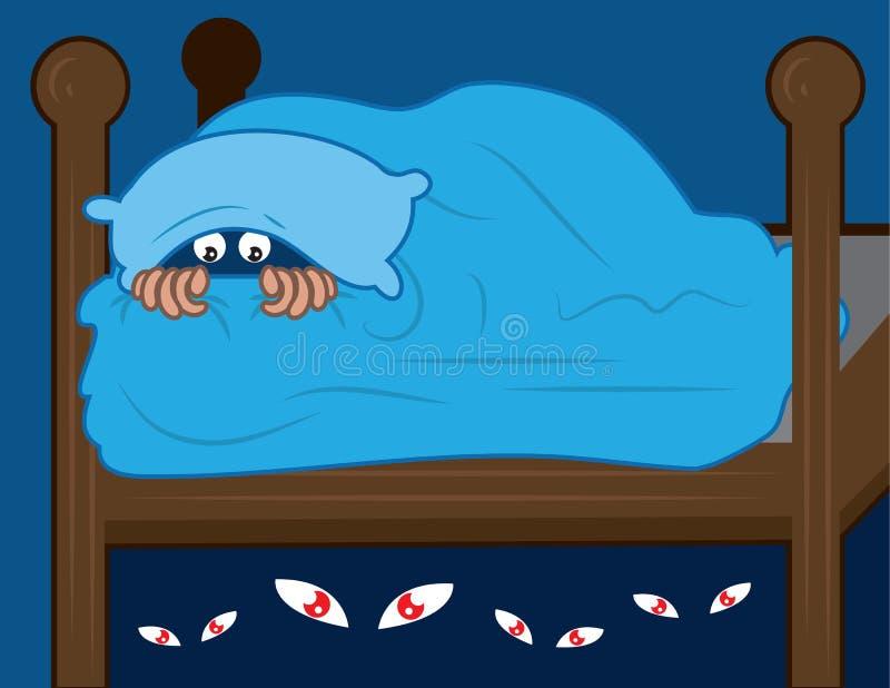 Monster unter Bett stockbild