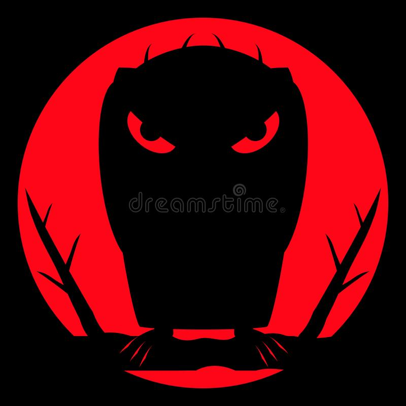 Monster vampire with scary bloody eyes and sharp claws on night background and of a large red moon. vector illustration