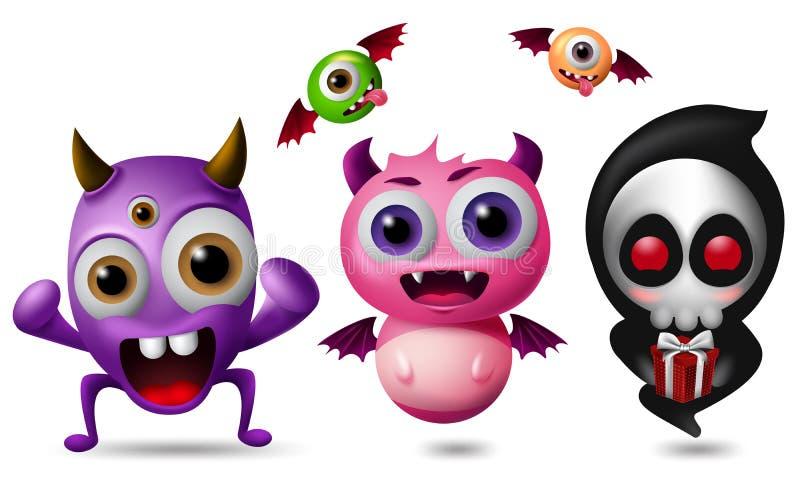 Monster vectorset van tekens Leuke kleine monsters in grappige en enge die uitdrukking op witte achtergrond wordt geïsoleerd royalty-vrije illustratie