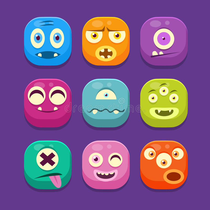 Monster Web Icons, Colourful Vector Illustrations. Monster with different emotions Web Icons, Colourful Vector Illustration Set vector illustration