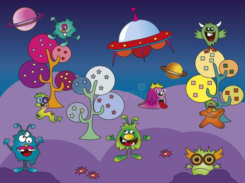 Monster world. Illustration of fantasy monster world vector illustration
