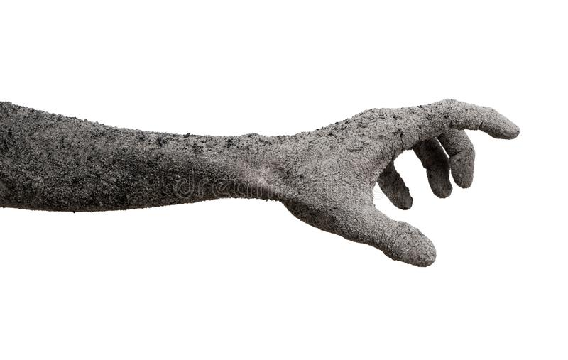 Monster zombie hand cinder isolated on white. stock photo