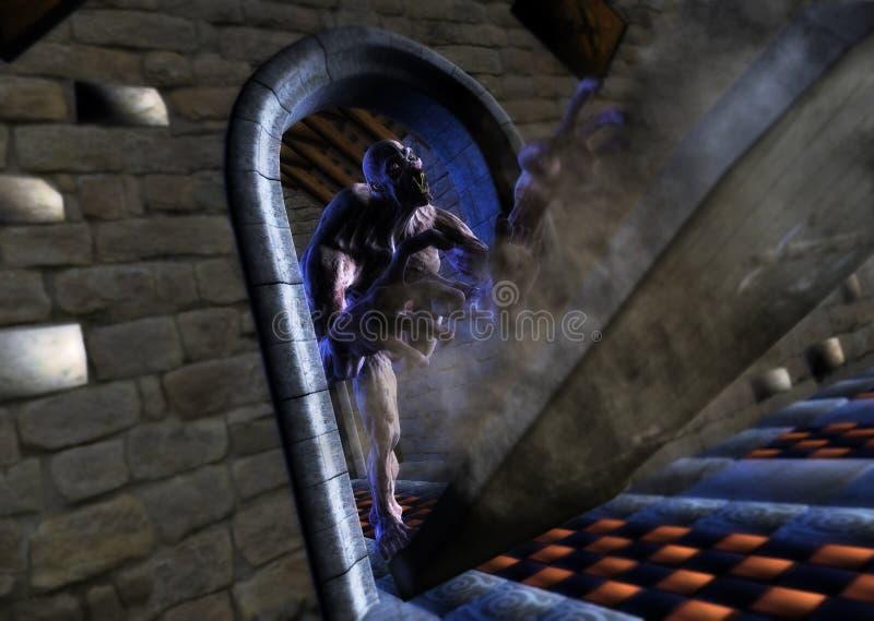 Monster Zombie Kicks Open Door Hunting Preys royalty free stock images