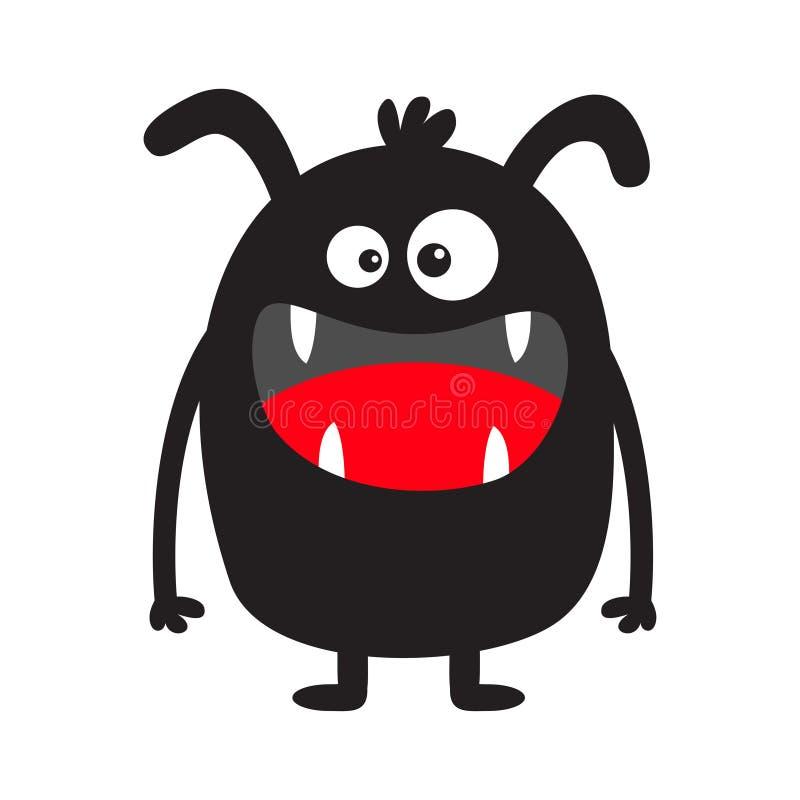 Monster zwart silhouet Het leuke enge grappige karakter van beeldverhaalkawaii Babyinzameling Gekke ogen, de tong van de hoektand stock illustratie