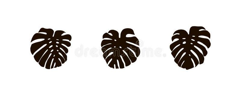 Monstera-Blattsatz, tropische Betriebsurlaubschattenbild, Vektorsommerzeichen, Sammlung stock abbildung