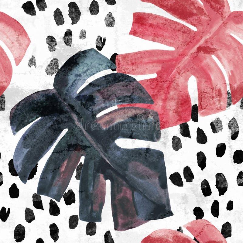 Monstera colorato monocromatico dell'acquerello sul fondo approssimativo dei colpi della spazzola fotografia stock
