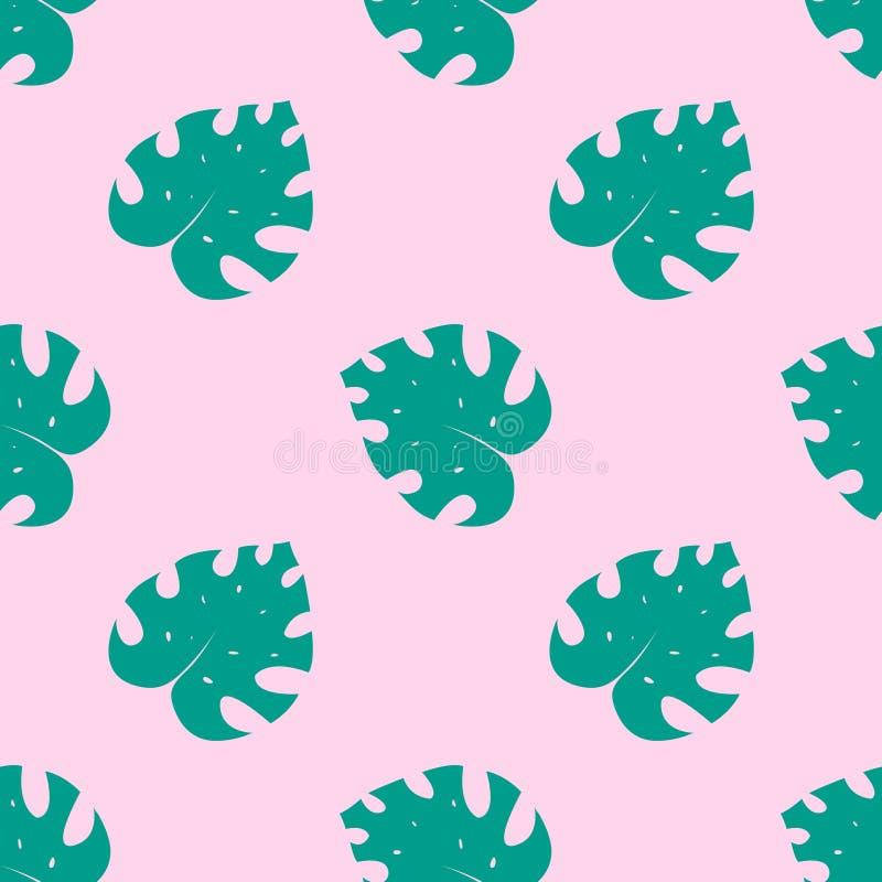 Monstera deliciosa, ceriman Piękny bezszwowy wzór tropikalna dżungla ilustracja wektor