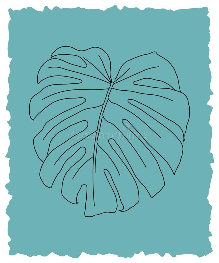 Monstera deliciosa liścia kreskowej sztuki wektoru ilustracja ilustracji