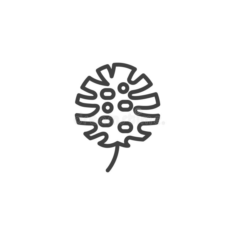 Monstera deliciosa linii ikona ilustracja wektor