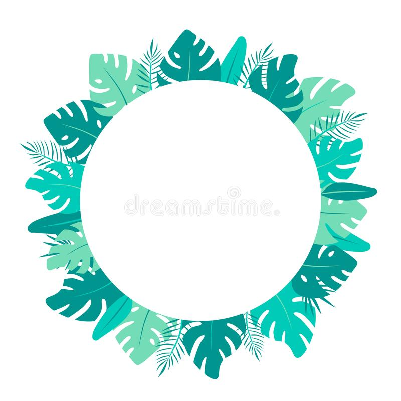 Monstera flat illustration. Bright green tropical leaves round frame.  stock illustration
