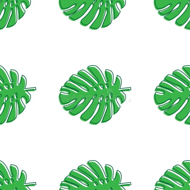 Monstera lämnar grönt Sömlös modell för tropiskt tema, djungel, friskhet som är exotisk Moderiktig modell för garnering eller för stock illustrationer