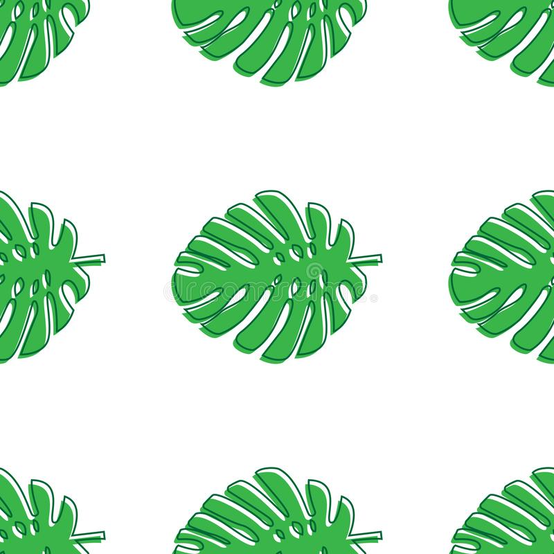 Monstera leaves green. Tropical theme seamless pattern, jungle, freshness, exotic. Trendy pattern for decoration or for background stock illustration