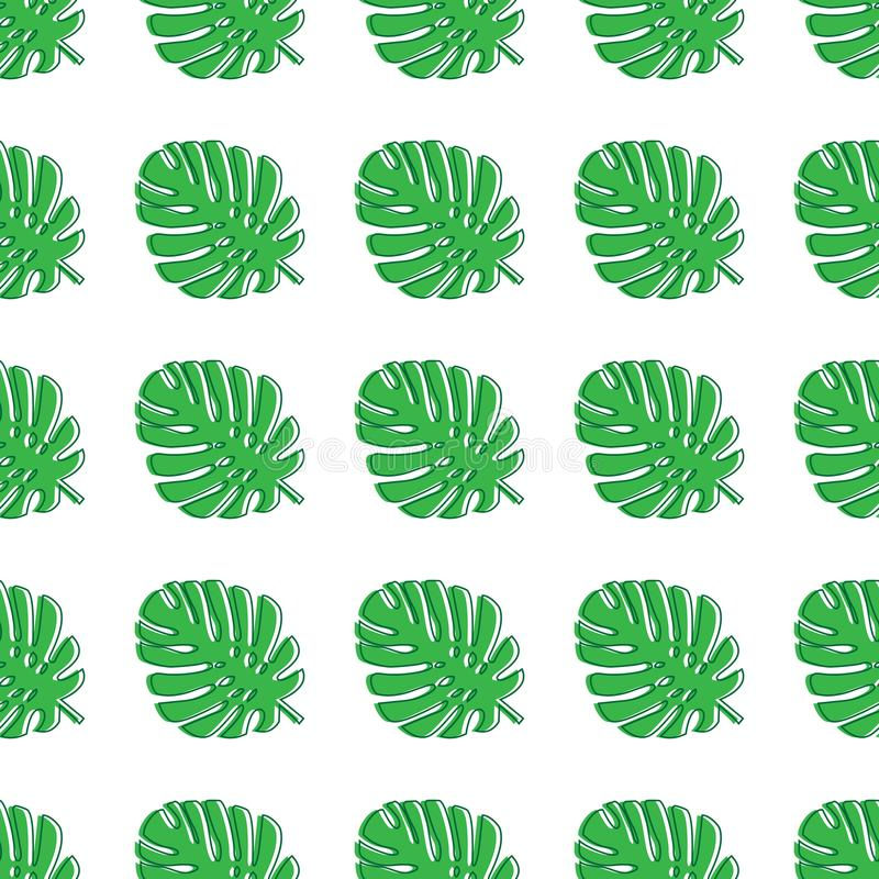 Monstera leaves green. Tropical theme seamless pattern, jungle, freshness, exotic. Trendy pattern for decoration or for background vector illustration