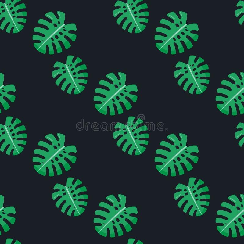 Monstera leaves seamless pattern vector illustration