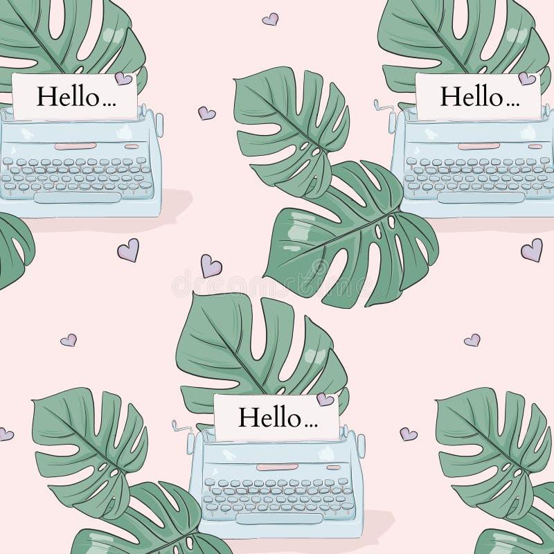 Monstera liście i typewrite ilustracja wzór Wektorowa tropikalna lato dekoracja Śliczna girly mody sztuka, koszulka ilustracji
