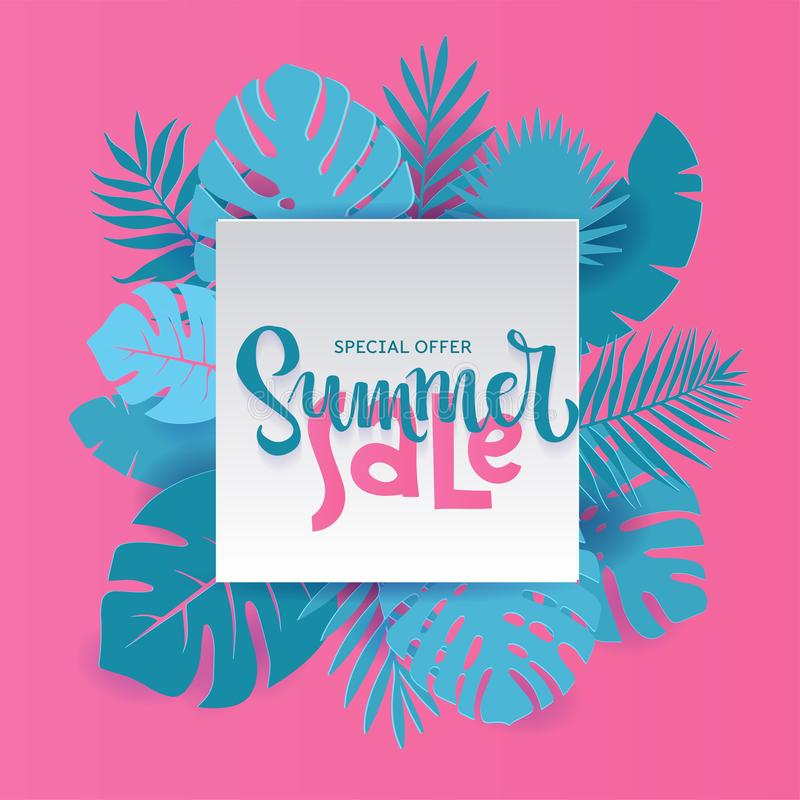 Monstera palm leaves Summer Sale Banner design in paper cut style. Origami white sheet with hand lettering Special offer with vector illustration