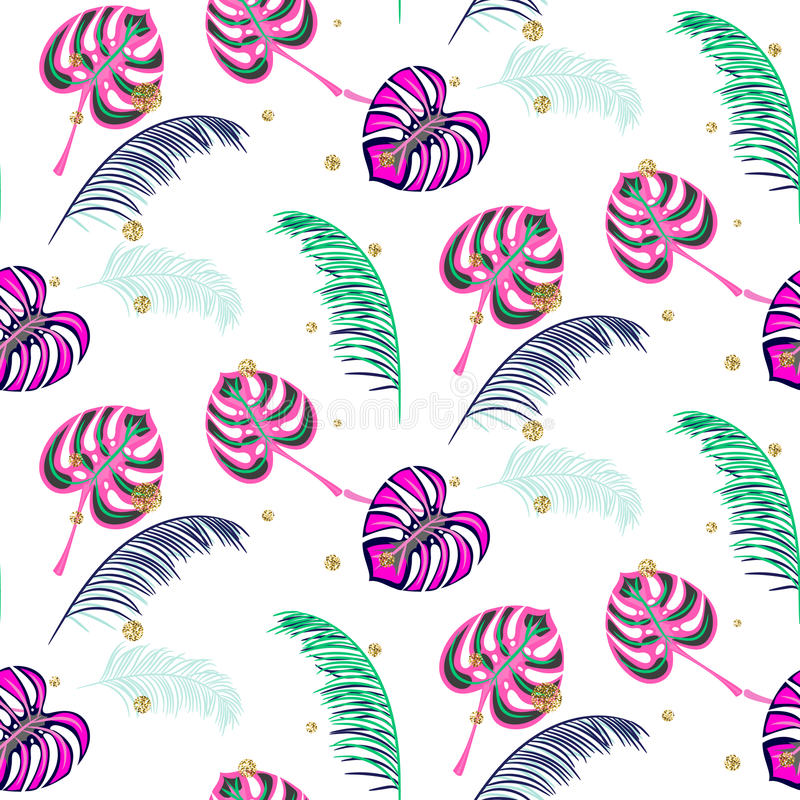 Monstera pink tropic plant leaves seamless pattern. royalty free illustration