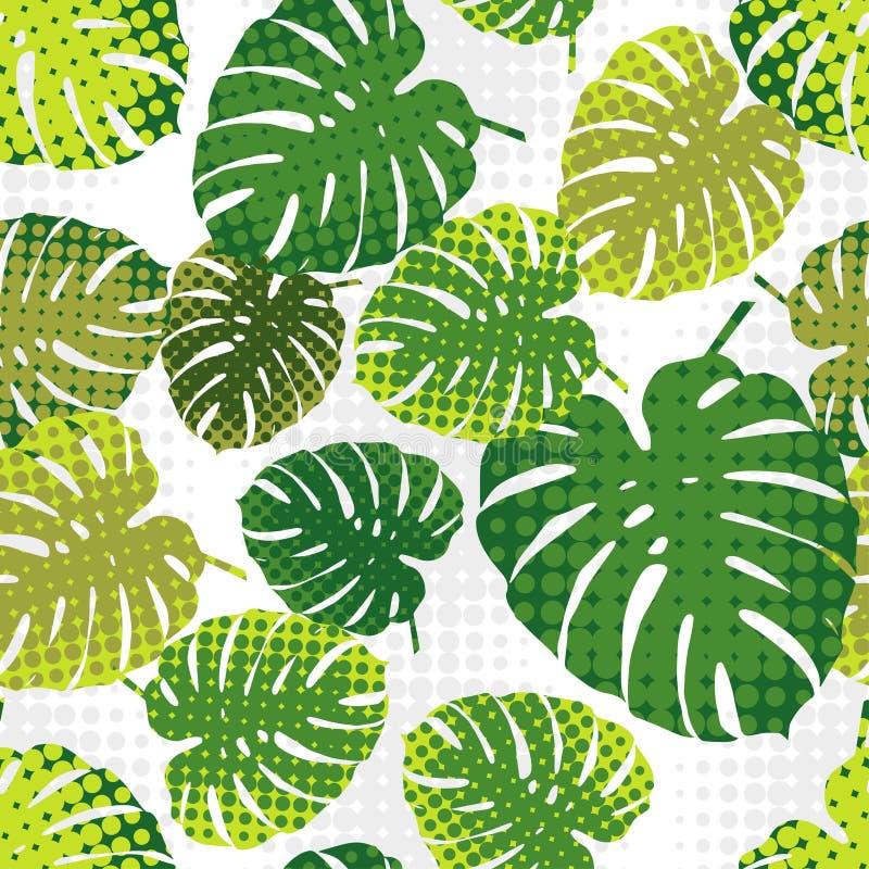 Monstera sidor i rastrerad stil Seamless bakgrund Tropisk design för sommar royaltyfri illustrationer