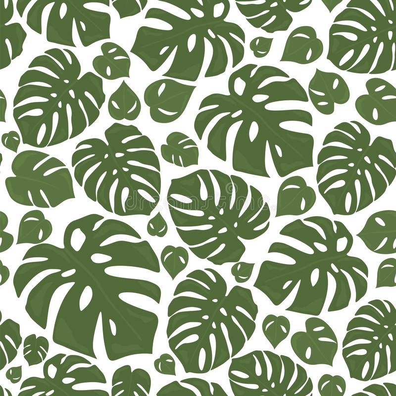 Monstera tropical forest leaves background. Green seamless pattern vector illustration