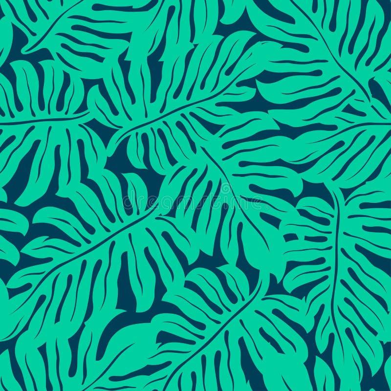 Monstera tropiskt blad i en sömlös modell royaltyfri illustrationer
