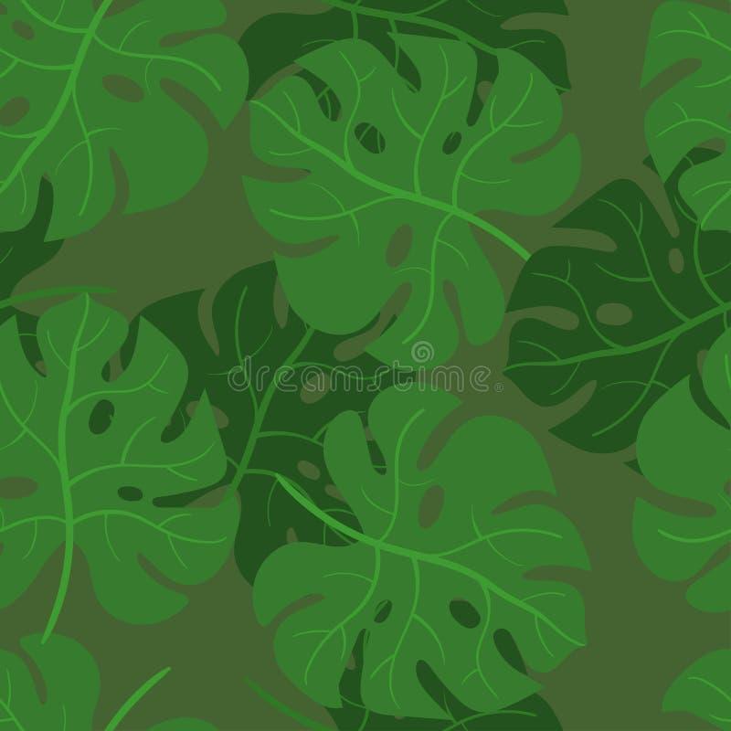 Monstera verlaat naadloos patroon Vectortextuur van tropische bladeren vector illustratie