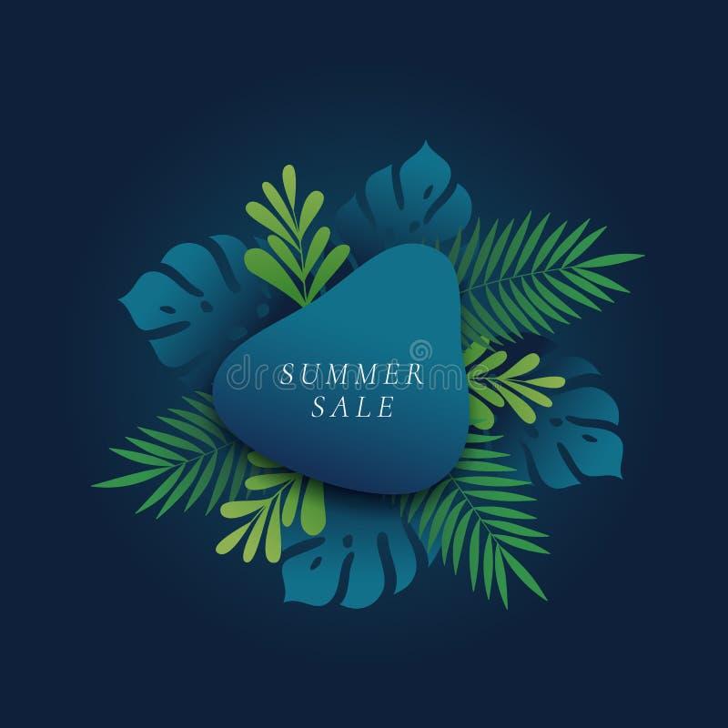 Monstera y tarjeta de la venta de Fern Palm Tropical Leaves Summer o plantilla de la bandera Follaje abstracto con pendiente y la ilustración del vector