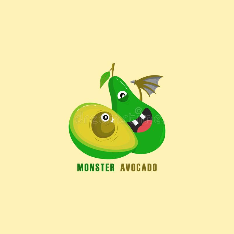 Monsteravocado Beeldverhaalavocado stock illustratie