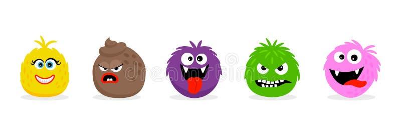 Monstergesichter Emoticons Lustige ver?rgerte der Vektorkarikatur und L?chelnkarikatur emojis lizenzfreie abbildung