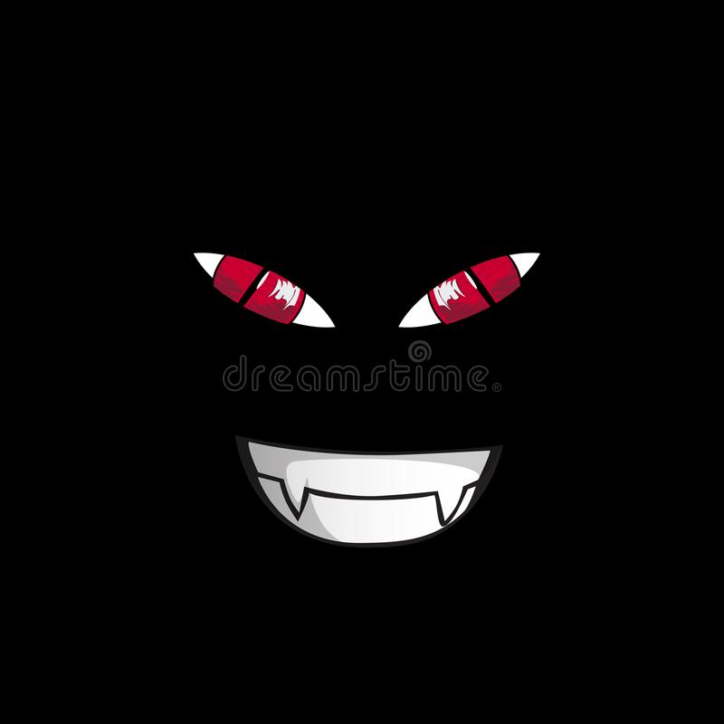 Monstergezicht op zwarte achtergrond Rood schroeven-op roofzuchtige ogen royalty-vrije illustratie