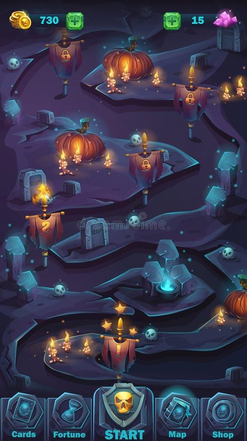 Monsterkampf GUI-Kartenfenster stock abbildung