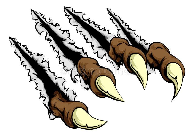 Monsterklauwen het krassen stock illustratie
