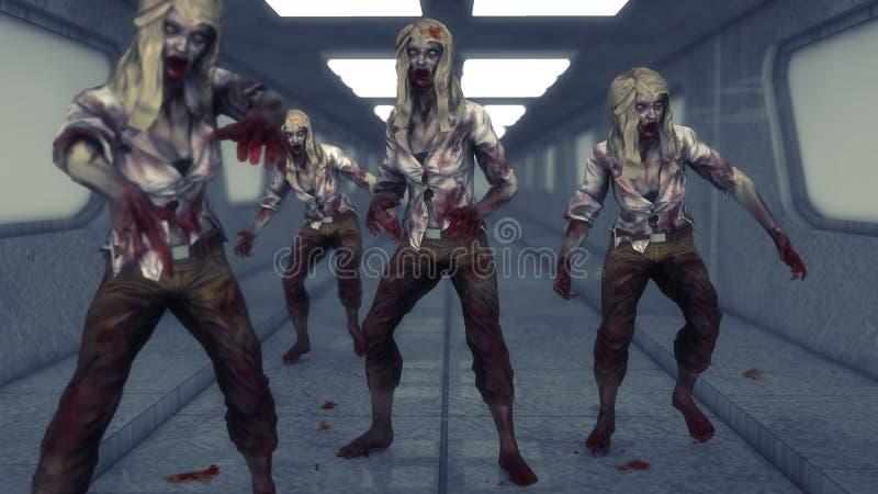 Monsterlevande dödflickor stock illustrationer