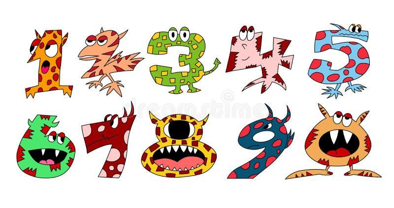 Monsternummeruppsättning 1 royaltyfri illustrationer
