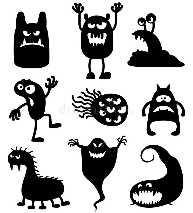Monsters. Silhouettes of cute doodle monsters-bacteria vector illustration