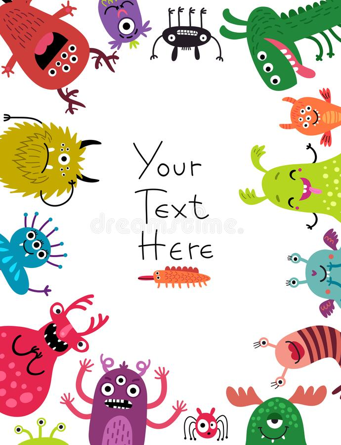 Monsters background for text. Funny monsters background for text royalty free illustration