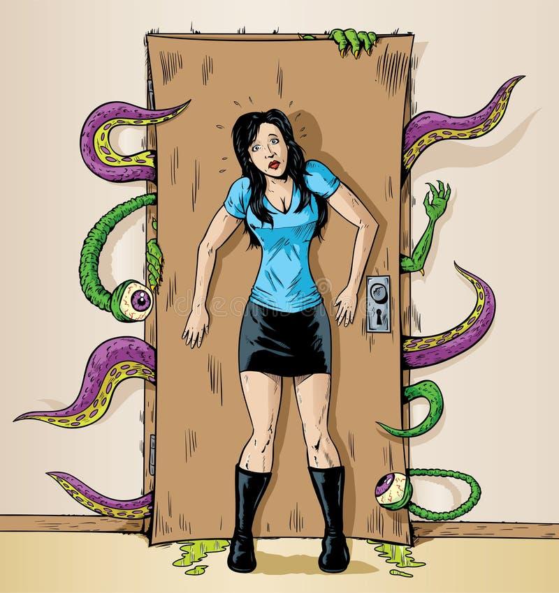 Monsters bij de deur vector illustratie