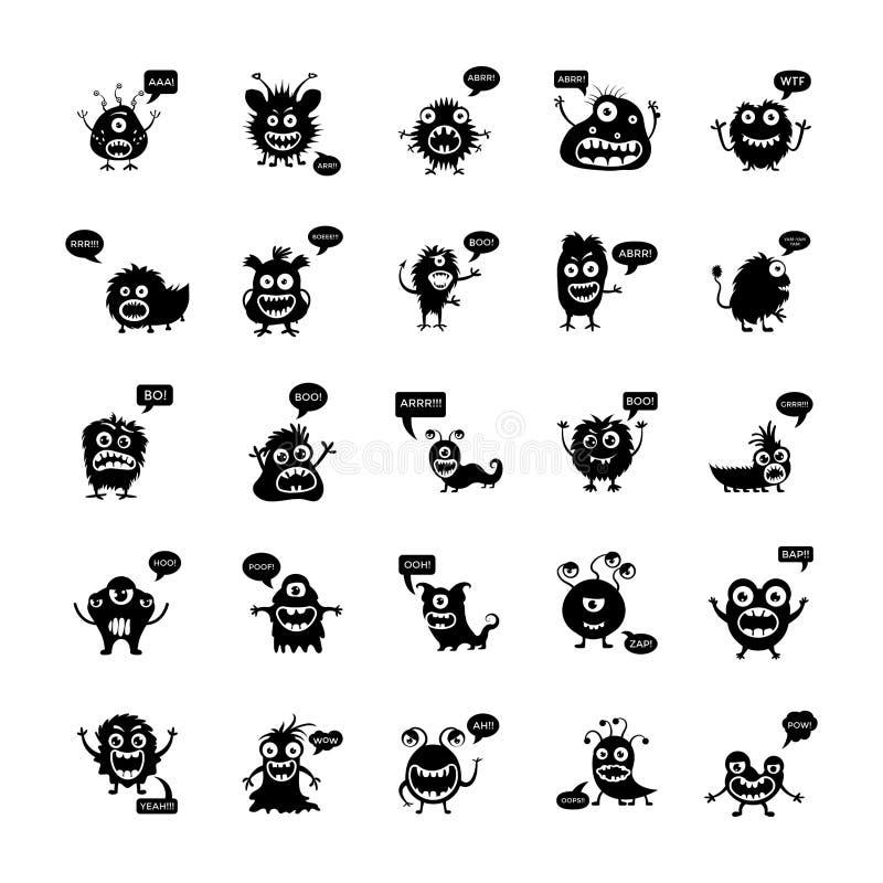 Monsters die en Stevige Vector Geplaatste Pictogrammen grommen gillen vector illustratie