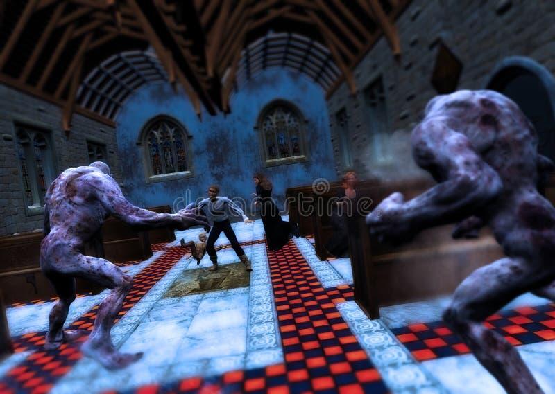 Monsters die Heilige Plaats van Vereringsscène aanvallen royalty-vrije illustratie
