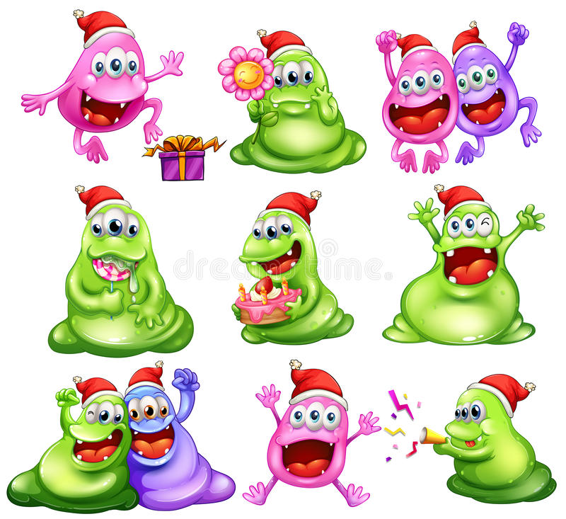 Monsters die Kerstmis vieren vector illustratie