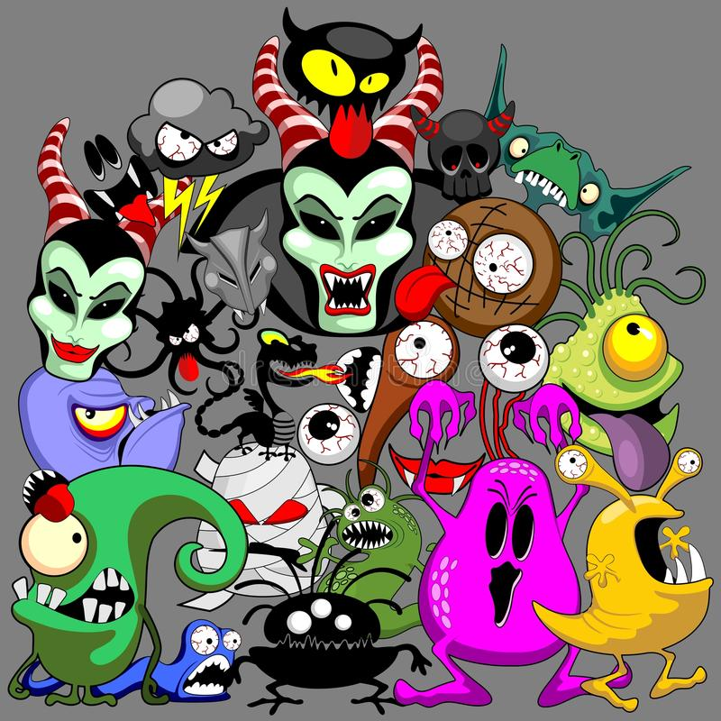 Free Monsters Doodles Spooky Halloween Characters Royalty Free Stock Photo - 74606505