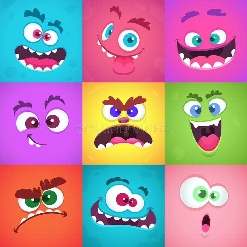 Monsters emotions. Scary faces masks with mouth and eyes of aliens monsters vector emoticon set royalty free illustration