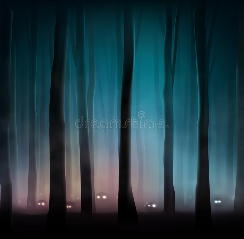Monsters in forest. Monsters in dark forest, eps 10